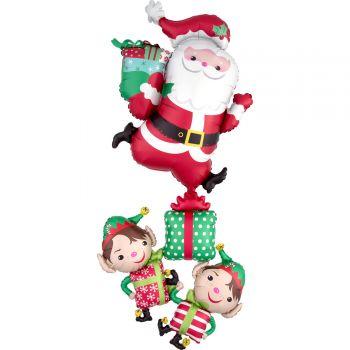Ballon hélium géant Père Noël et lutins