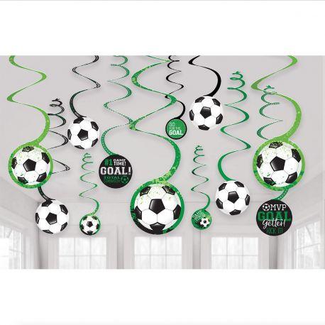 12 suspensions swirlsur le thème du foot pour l'anniversaire de votre enfant.