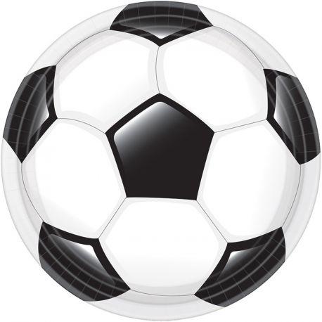 8 assiettes en carton sur le thème du foot pour l'anniversaire de votre enfantDimensions : Ø23cm