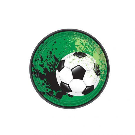 8 petites assiettes en carton sur le thème du foot pour l'anniversaire de votre enfantDimensions : Ø18cm