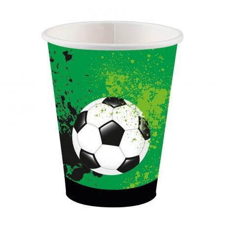 8 Gobelets en carton sur le thème du foot pour l'anniversaire de votre enfantDimensions : 25cl