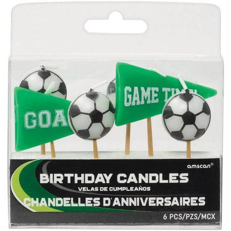 6 Bougies pics sur le thème du foot pour décorer le gâteau d'anniversaire de votre enfant
