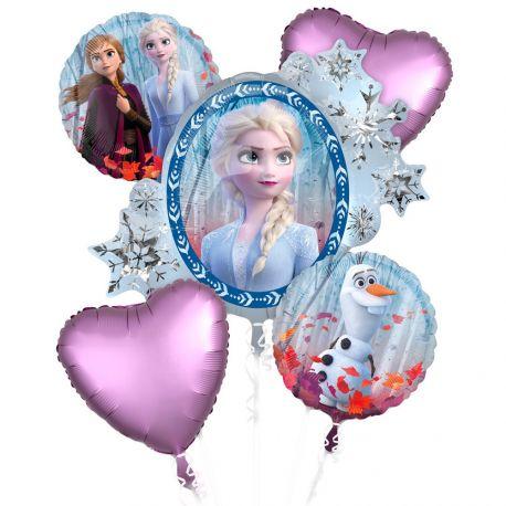 Bouquet de 5 ballons happy birthday La Reine des Neigesen aluminium pouvant être gonflés avec ou sans hélium (avec une paille)...