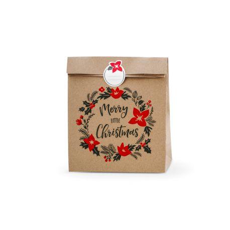 3 Sacs cadeaux Merry Little Christmas, en papier kraft impriméCet ensemble contient 3 sacs et 3 autocollants,tailles env. 25 x...