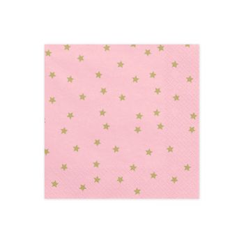 20 serviettes rose starlight