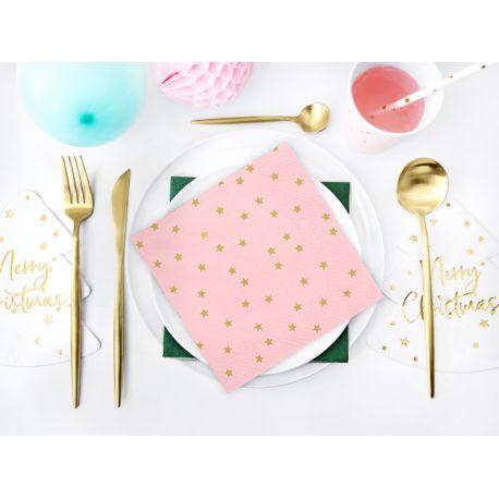 20 Serviettes en papier rose avec étoile doré pour faire une décoration d'anniversaire ou de Noëlultra tendance, douce et pastel...