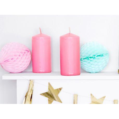 Bougie en cire à poser de couleur rose pastel pour une décoration de table ou d'ambianceDimensions : H12cm x Ø6cmPeut tenir...