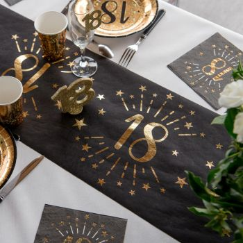 Chemin de table Artifice black or 18 ans