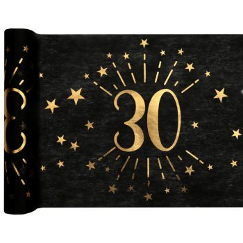 Chemin de table Artifice black or 30 ans
