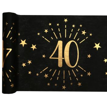 Chemin de table Artifice black or 40 ans