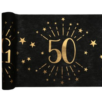 Chemin de table Artifice black or 50 ans