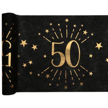 Chemin de table Artifice black or 50 ans