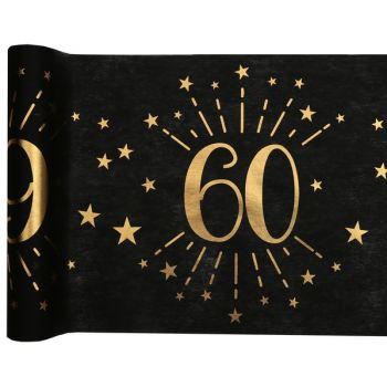 Chemin de table Artifice black or 60 ans