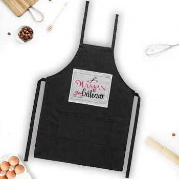 Tablier noir décor Maman Gâteaux
