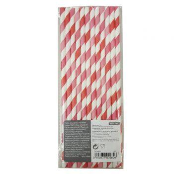 12 Pailles papier rayures fuchsia dégradé