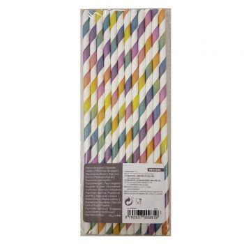 12 Pailles papier rayures multicolore pastel dégradé