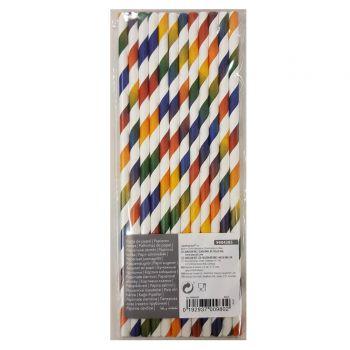 12 Pailles papier rayures multicolore dégradé