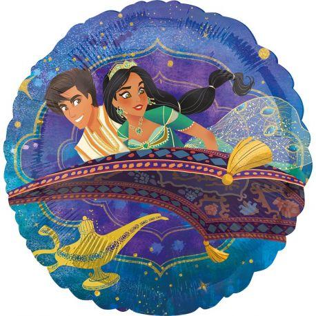 Superbe ballon rond en aluminium à gonfler à l'hélium décor princesse Jasmine et Aladdin idéal pour la décoration d'une belle fête...