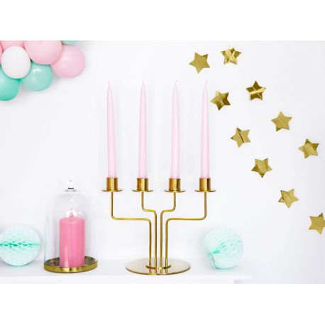 Bougie chandelle en cire de couleur rose pastel pour une décoration de table ou d'ambiance. Idéal dans un chandelierDimensions :...