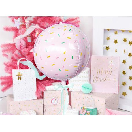 Superbe ballon en aluminium rose avec décors sprinkles pouvant être gonflé avec ou san héliumDimensions: Ø40cm