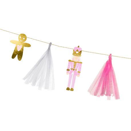 Superbe guirlande de Noël avec des sujets de Noël aux couleurs rose et blanches pour une belle décoration de Noël douc et...