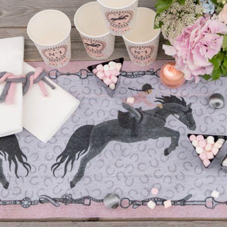 Chemin de table en tissu non tissé pour la décoration de vos tables d'anniversaire sur le thème du cheval et de l'...