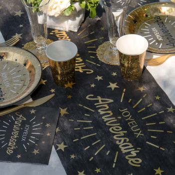 Chemin de table Anniversaire Etincelant or