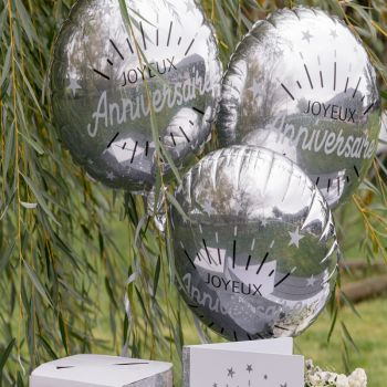 Ballons hélium Anniversaire étincelant argent