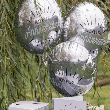 Ballons hélium Anniversaire étincellant argent