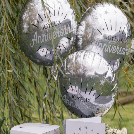Ballon Anniversaire étincelant argent en aluminium à gonfler à l'hélium ou à l'air pour la deco de votre fête...