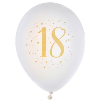 8 Ballons latex Joyeux anniversaire Or 18 ans