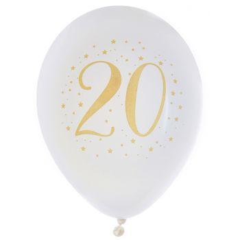 8 Ballons latex Joyeux anniversaire Or 20 ans