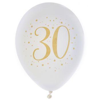 8 Ballons latex Joyeux anniversaire Or 30 ans