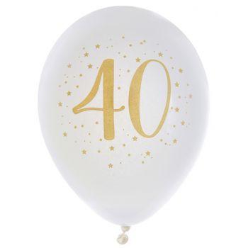 8 Ballons latex Joyeux anniversaire Or 40 ans