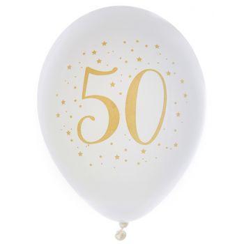 8 Ballons latex Joyeux anniversaire Or 50 ans