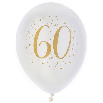 8 Ballons latex Joyeux anniversaire Or 60 ans