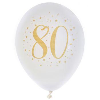 8 Ballons latex Joyeux anniversaire Or 80 ans
