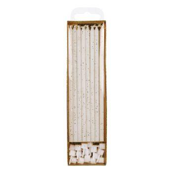 16 Bougies longuettes blanches pailleté or 18cm
