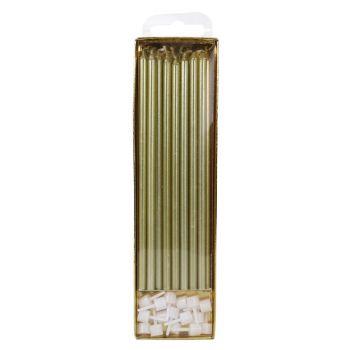 16 Bougies longuettes or 18cm