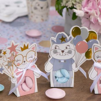 6 Boites dragées carton Kitty bleu
