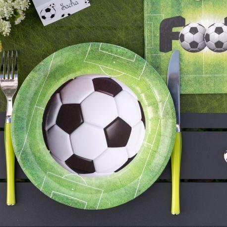 10 Assiettes en carton thème Foot Dimensions : Ø 22.5 cm