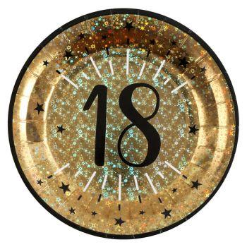 Assiettes anniversaire or pailleté 18 ans