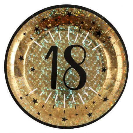 10 Assiettes en carton or pailleté pour la décoration de votre table d ' anniversaire 18 ans.Dimensions : ø 22.5 cm