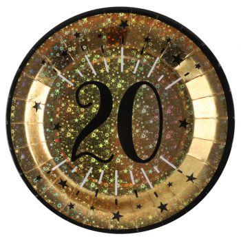 Assiettes anniversaire or pailleté 20 ans