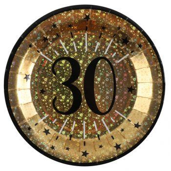 Assiettes anniversaire or pailleté 30 ans