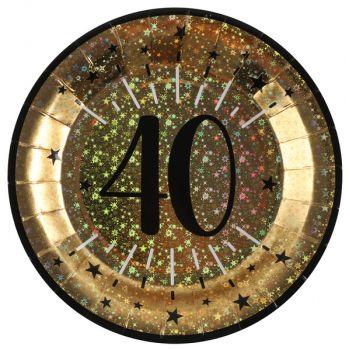Assiettes anniversaire or pailleté 40 ans