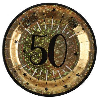 Assiettes anniversaire or pailleté 50 ans