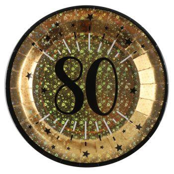 Assiettes anniversaire or pailleté 80 ans