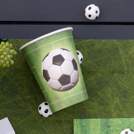 10 Gobelets en carton thème Football pour la deco de votre fête d'anniversaire. Dimensions : Ø 7.8 x 9.7 cm