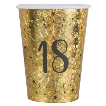10 Gobelets Anniversaire or pailleté 18 ans